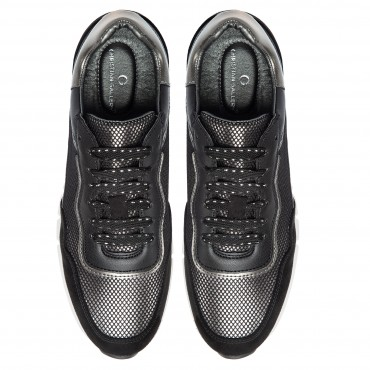 SNEAKER CASUAL NEGROS PLATA MADONNA